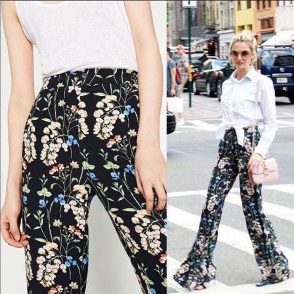Zara Pants - Zara Floral Flared Pants